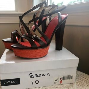 Aqua brown & coral strappy leather platform heel.